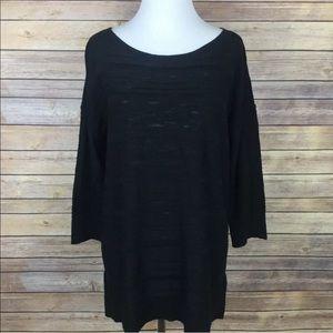 Calvin Klein Black Ribbed Slub Sheer Pullover Top